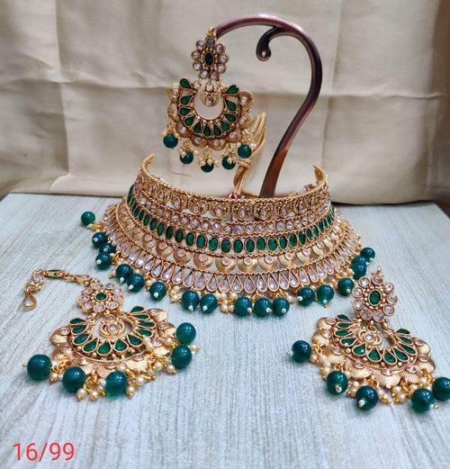 Designer Choker with Maang Tikka in - Jewelry - FashionVibes