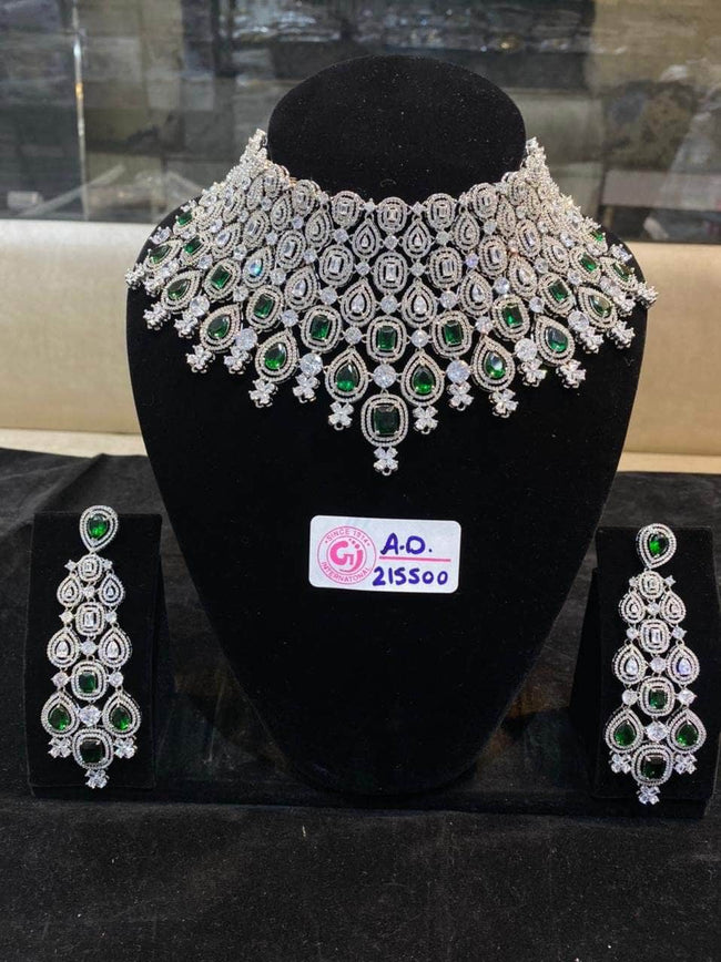 Designer Emerald Color AD  Stone Set in - Jewelry - FashionVibes