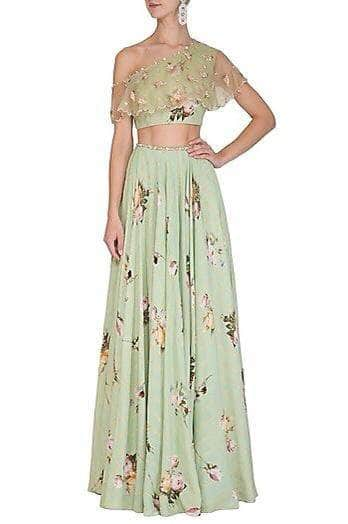 Designer Georgette Lehenga with Floral Work in - Lehenga - FashionVibes