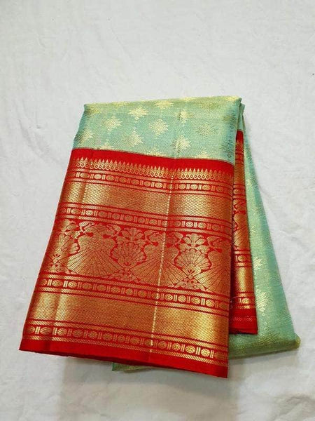 Designer Kanjivaram Pure Silk Saree in LightGreen - Saree - FashionVibes