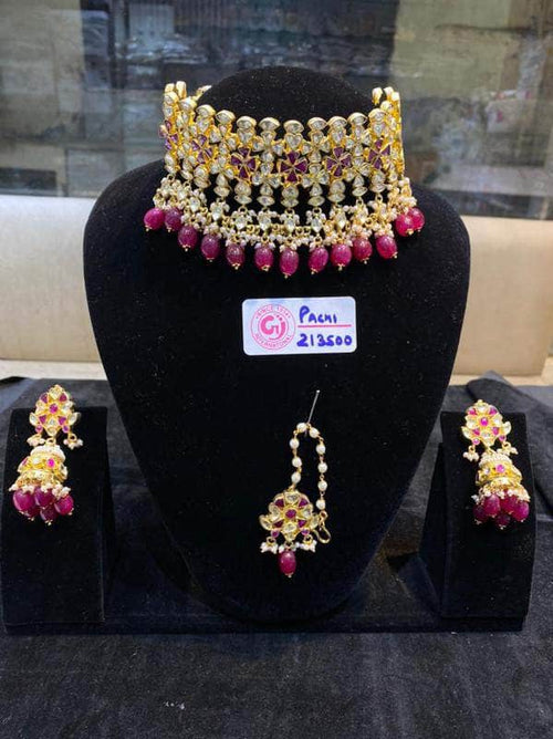Designer Kundan Choker Necklace Set in - JEWELRY - FashionVibes