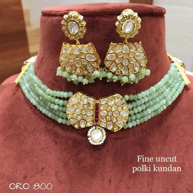 Designer Kundan Choker Set in LightGreen - Jewelry - FashionVibes