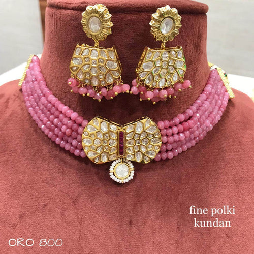 Designer Kundan Choker Set in Pink - Jewelry - FashionVibes