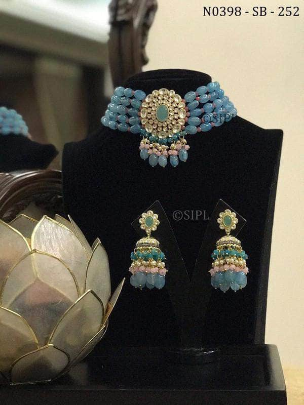 Designer Kundan Necklace Set in Blue - Jewelry - FashionVibes