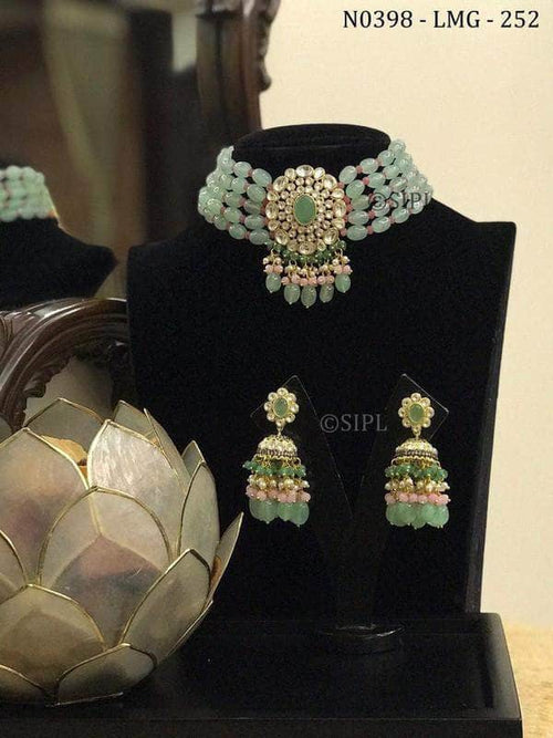 Designer Kundan Necklace Set in Gray - Jewelry - FashionVibes
