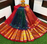 Designer Kuppadam Kanchi Pletu Border Saree in Green - Saree - FashionVibes