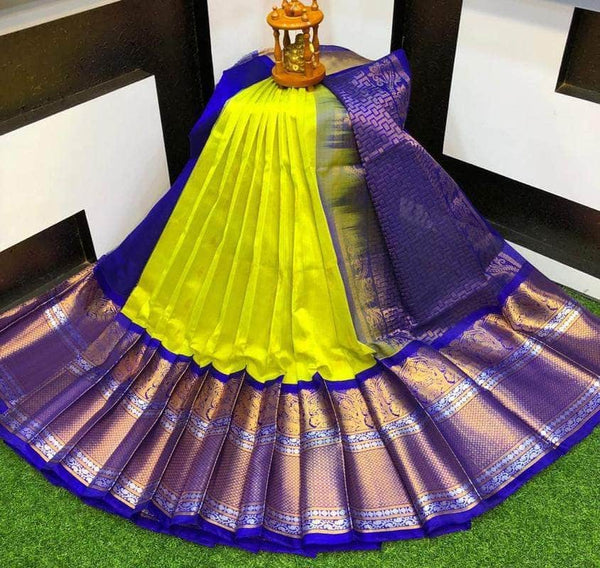 Designer Kuppadam Kanchi Pletu Border Saree in Lime - Saree - FashionVibes