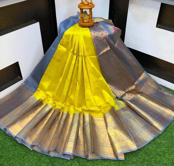 Designer Kuppadam Kanchi Pletu Border Saree in yellow - Saree - FashionVibes