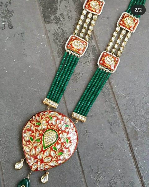 Designer Meenakari work Heavy Pendent in - Jewelry - FashionVibes