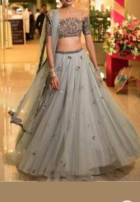 Sequin and Zari Work Georgette Lehenga