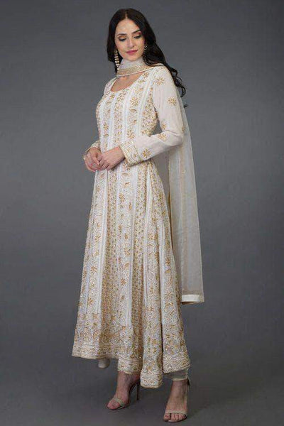 Designer Pure Georgette Handwork Chikankari Off-White Anarkali Suit in - Salwar Suit - FashionVibes