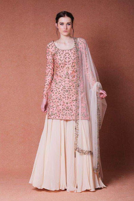 Tusser Silk Plazo Suit with Floral Dupatta
