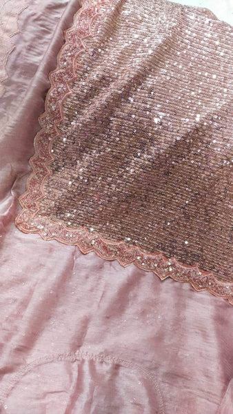 Designer Sequin Saree in Pink - Saree - FashionVibes