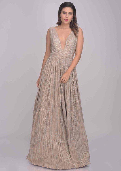 Designer Shimmery Lycra Evening Gown in Tan - Gowns - FashionVibes