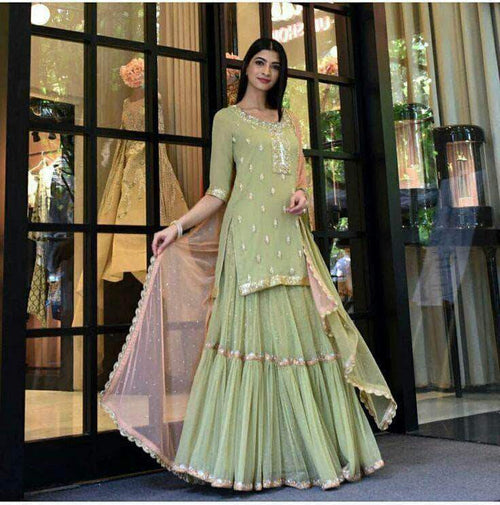 Designer Yellow Green Georgette Sharara Suit in - Salwar Suit - FashionVibes