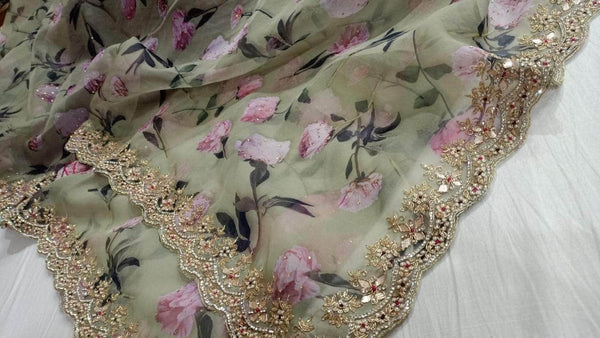 Digital Print Floral Organza Saree in - Saree - FashionVibes
