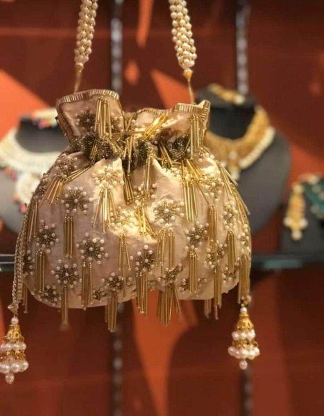 Embroidered Sequins Zari Work Potli Bag in Gold - Shoes & Cluthes - FashionVibes