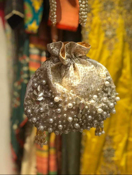 Embroidered Sequins Zari Work Potli Bag in Linen - Shoes & Cluthes - FashionVibes