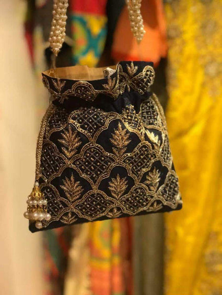 Embroidered Sequins Zari Work Potli Bag in Navy - Shoes & Cluthes - FashionVibes