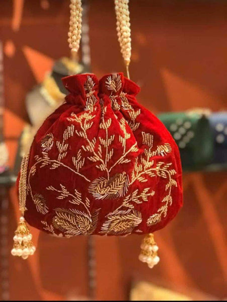 Embroidered Sequins Zari Work Potli Bag in Red - Shoes & Cluthes - FashionVibes