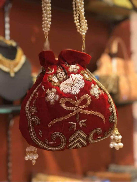 Embroidered Sequins Zari Work Potli Bag in - Shoes & Cluthes - FashionVibes