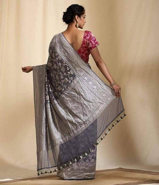 Exclusive Banarasi Khaddi Chiffon Georgette Silk Saree in Navy - Saree - FashionVibes