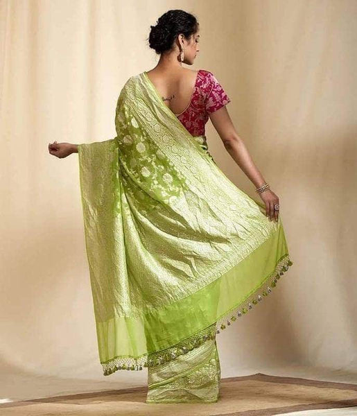 Exclusive Banarasi Khaddi Chiffon Georgette Silk Saree in PaleGreen - Saree - FashionVibes