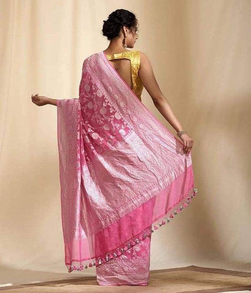 Exclusive Banarasi Khaddi Chiffon Georgette Silk Saree in Pink - Saree - FashionVibes