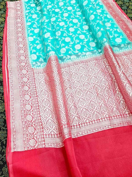 Exclusive Banarasi Khaddi Chiffon Georgette Silk Saree in SkyBlue - Saree - FashionVibes