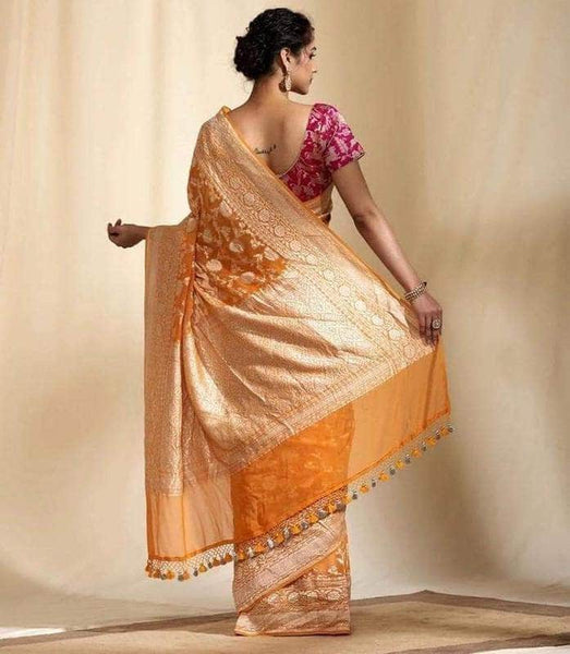 Exclusive Banarasi Khaddi Chiffon Georgette Silk Saree in Yellow - Saree - FashionVibes