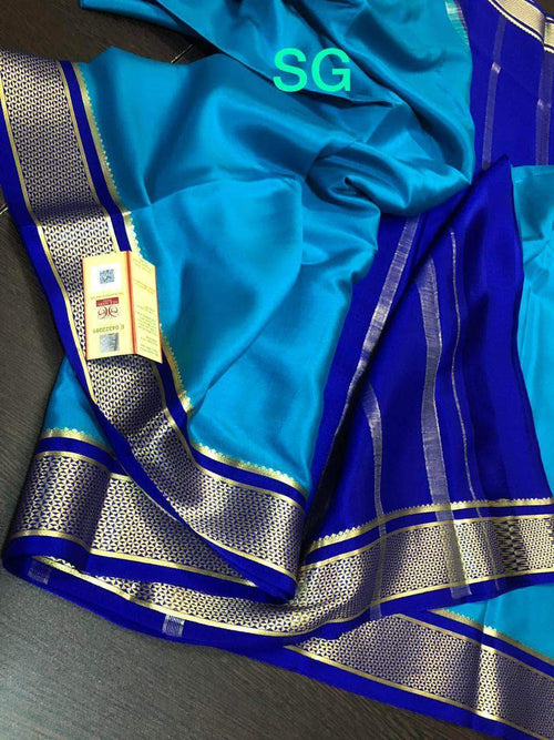 Exclusive Border Pure South Silk Saree in SkyBlue - Saree - FashionVibes
