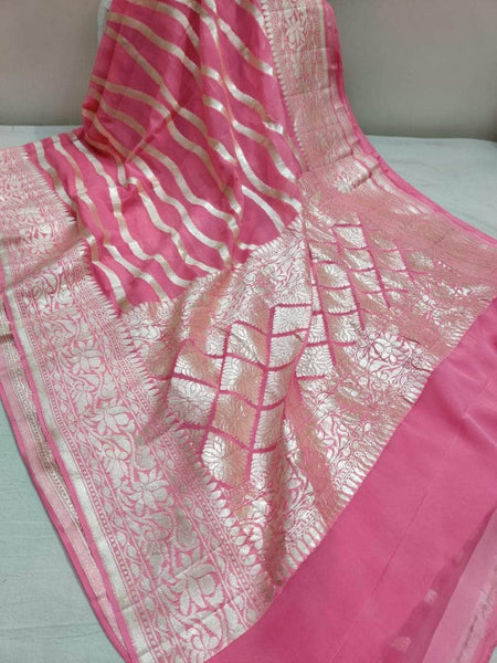 Exclusive Pure Handloom Banarasi Khaddi Chiffon Georgette Silk Saree in Fuchsia - Saree - FashionVibes