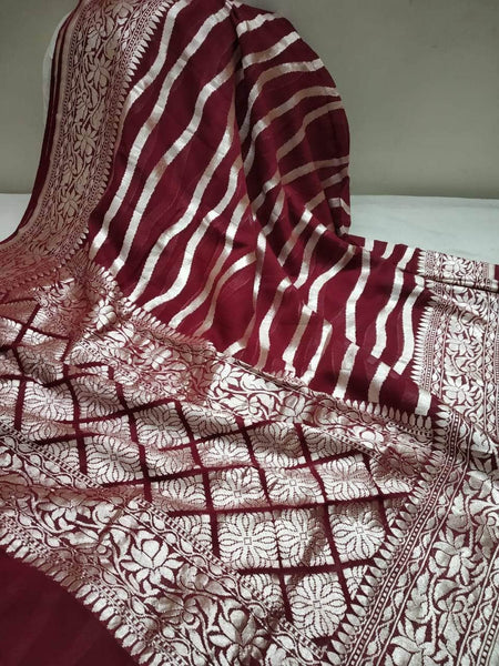 Exclusive Pure Handloom Banarasi Khaddi Chiffon Georgette Silk Saree in Maroon - Saree - FashionVibes