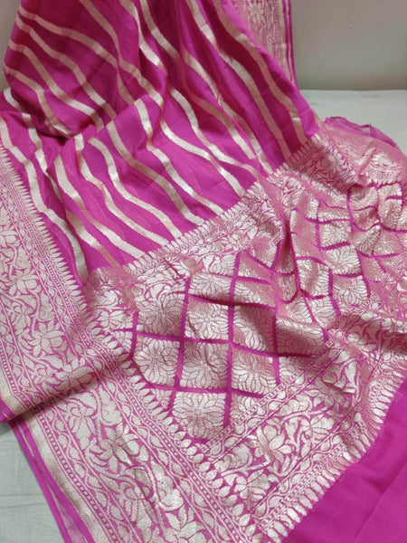 Exclusive Pure Handloom Banarasi Khaddi Chiffon Georgette Silk Saree in Pink - Saree - FashionVibes