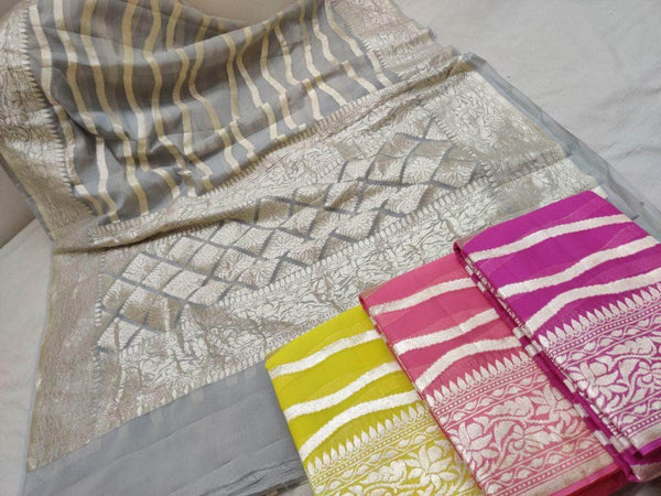 Exclusive Pure Handloom Banarasi Khaddi Chiffon Georgette Silk Saree in - Saree - FashionVibes