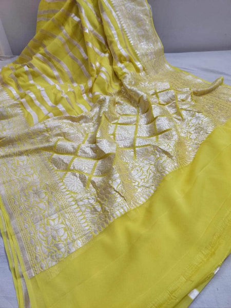 Exclusive Pure Handloom Banarasi Khaddi Chiffon Georgette Silk Saree in Yellow - Saree - FashionVibes