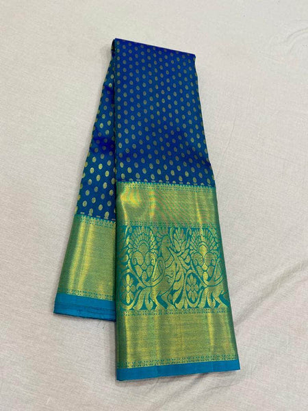 Fabulous Kanjivaram Silk Saree in Blue - Saree - FashionVibes
