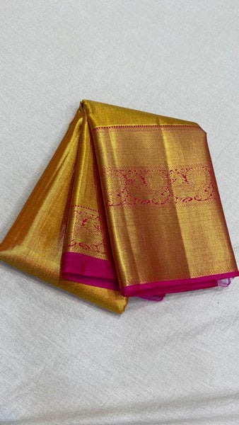 Fabulous Kanjivaram Silk Saree in Gold - Saree - FashionVibes
