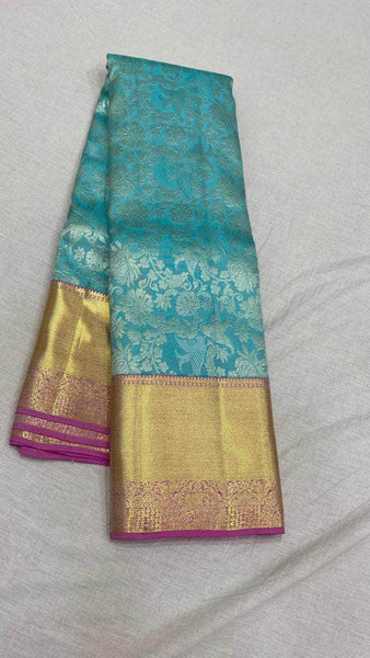 Fabulous Kanjivaram Silk Saree in SkyBlue - Saree - FashionVibes