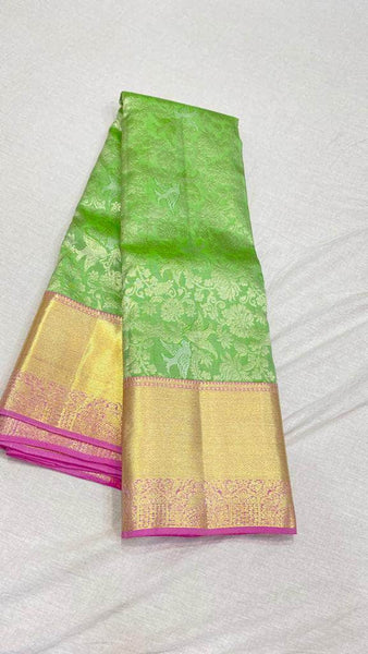 Fabulous Kanjivaram Silk Saree in SpringGreen - Saree - FashionVibes