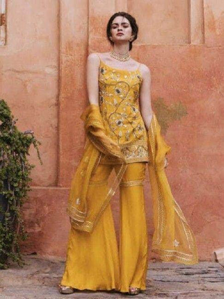 Beautiful Yellow Color Peplum style Gotta Patti Sharara Suit
