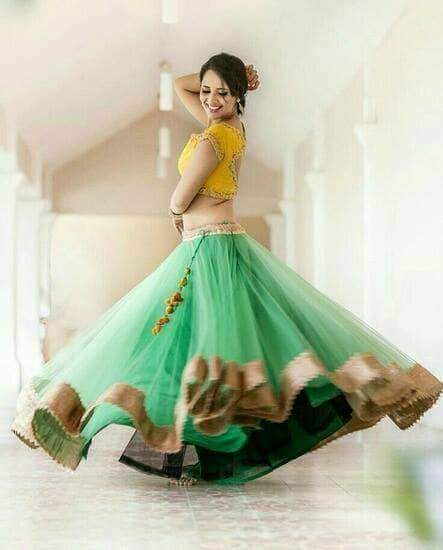 Green Net Lehenga with Embroidered Designer Choli in - Custom Salwar suit and Lehenga - FashionVibes