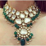 Heavy Pure Green/Silver Festive Kundan Sets in - Jewelry - FashionVibes