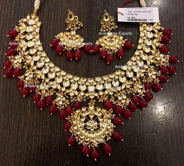 High quality Kundan Jewlery Set in Maroon - Jewelry - FashionVibes