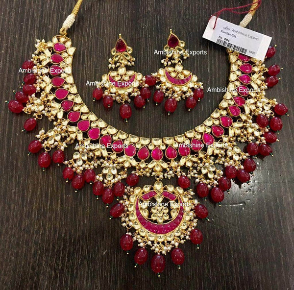 High quality Kundan Jewlery Set in Red - Jewelry - FashionVibes