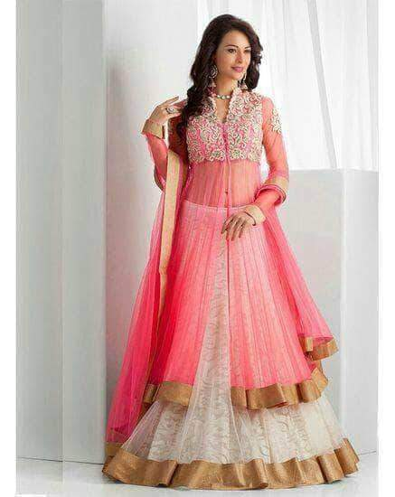 Jacket Style Lehenga in Net in - Custom Salwar suit and Lehenga - FashionVibes