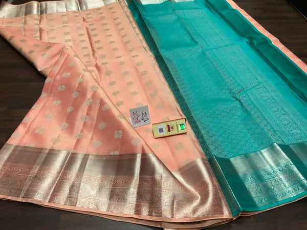 Kancheepuram Silk Handloom  Saree in Blue - Saree - FashionVibes