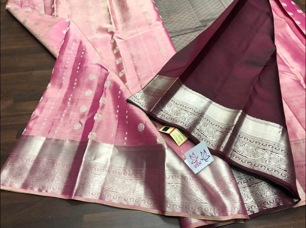 Kancheepuram Silk Handloom  Saree in Maroon - Saree - FashionVibes