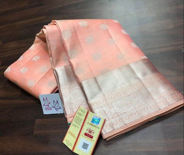 Kancheepuram Silk Handloom  Saree in Peach - Saree - FashionVibes