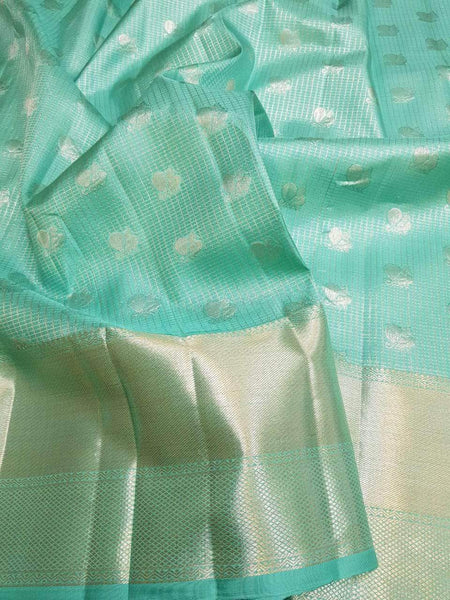 Kanjivaram Silk Saree in Aqua - Saree - FashionVibes